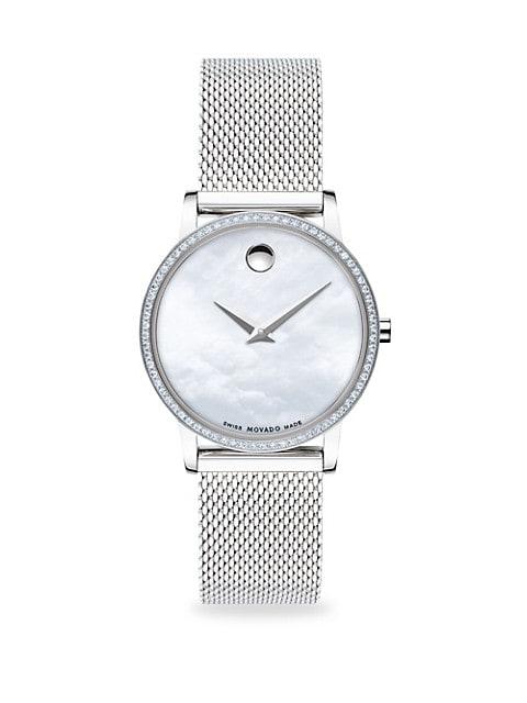 Pavé Diamond Stainless Steel Mesh Bracelet Watch