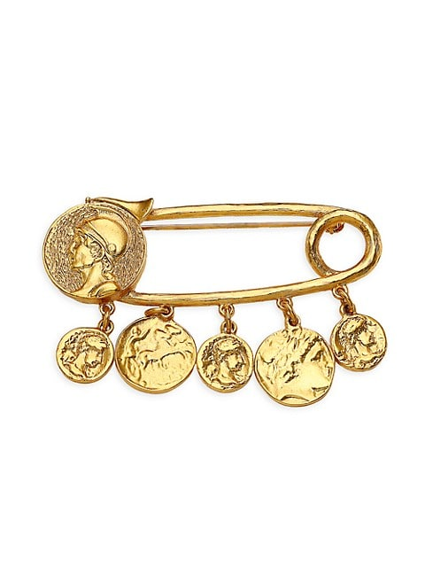Goldplated Coin Charm Safety Pin Brooch