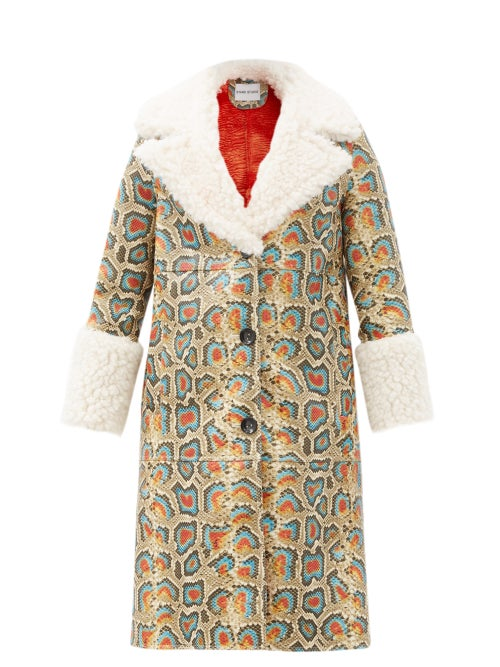 Stand Studio - Linda Faux Shearling-trimmed Faux-leather Coat - Womens - Multi