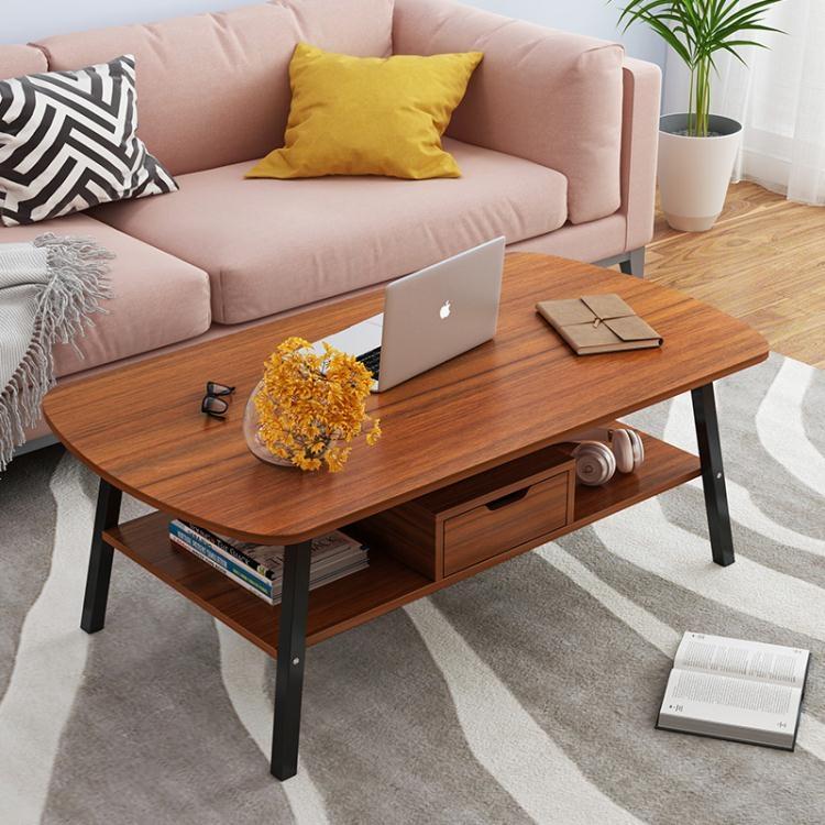 【快速出貨】簡易創意鋼木雙層茶幾簡約小戶型客廳家用經濟咖啡小方桌子ins風 聖誕交換禮物