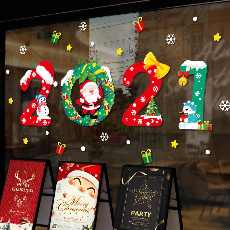 【Zooyoo壁貼】2021新年聖誕老人壁貼 耶誕節商店玻璃門貼紙 節日推拉門裝飾節日氣氛牆貼