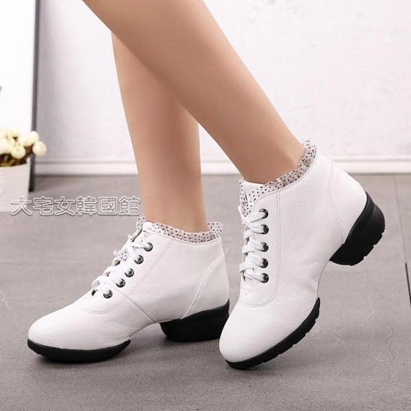 舞蹈鞋女士舞蹈鞋女士廣場舞鞋黑色跳舞鞋子秋冬帶中跟軟底水兵舞鞋中老年 快速出貨