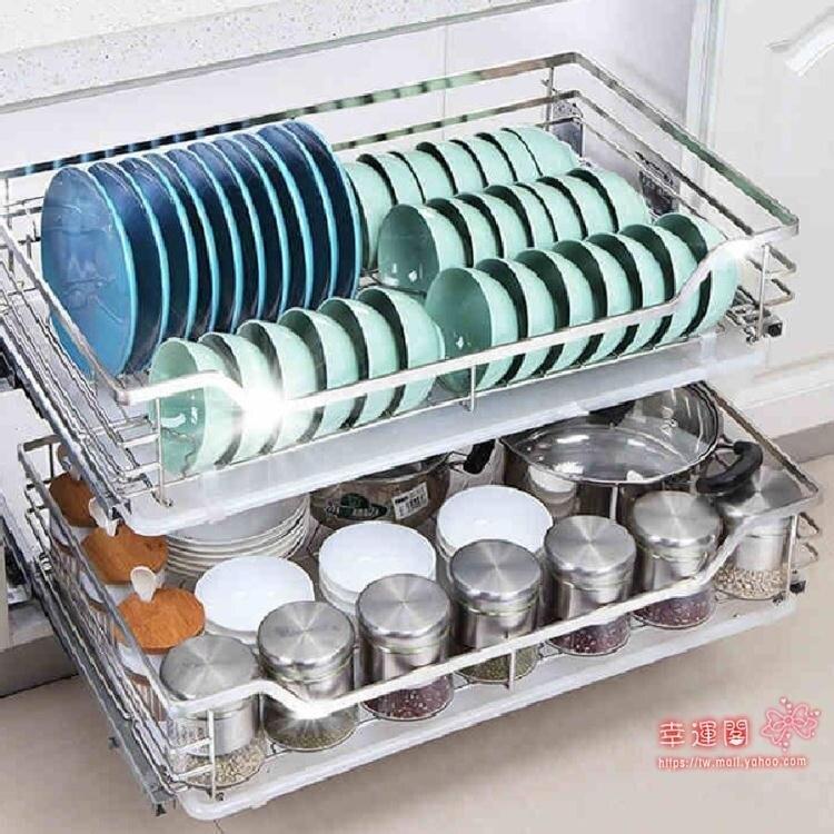 廚房花籃 拉籃廚房櫥櫃雙層抽屜式碗架碗櫃304不銹鋼碗籃調味置物架T
