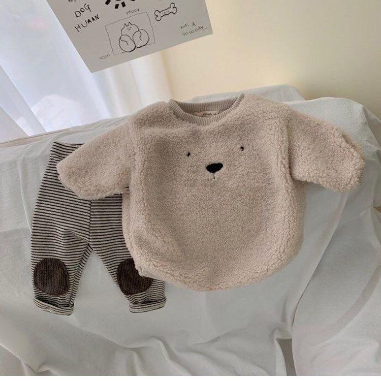 ins百搭兩件套男女寶寶套裝卡通外套嬰兒加絨加厚羊羔毛衛衣兒童兩件套
