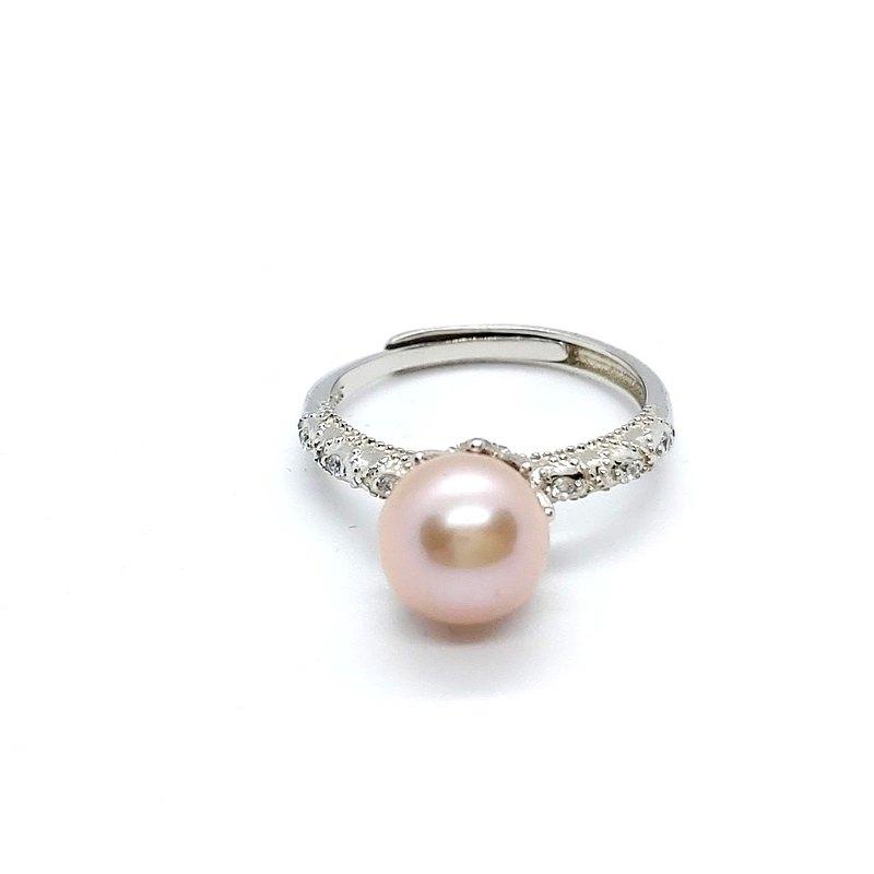 蕾絲鋯石淡水珍珠純銀戒指