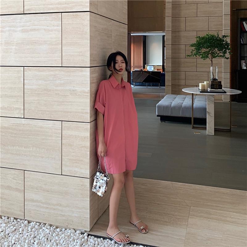 熱銷新品夏季現貨✨粉色襯衫連衣裙寬鬆顯瘦氣質短裙2020新款夏季港味復古法式裙子女