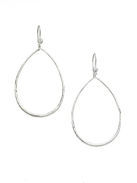 Classico Sterling Silver & Diamond Hammered Open Teardrop Earrings