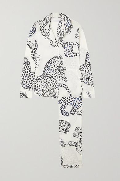 Desmond & Dempsey - Jag 印花有机纯棉睡衣套装 - 奶油色 - medium
