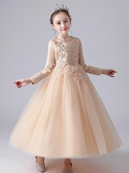 兒童禮服 禮服裙小女孩蓬蓬紗花童婚紗公主裙主持人女童鋼琴演出服洋氣【快速出貨八折搶購】