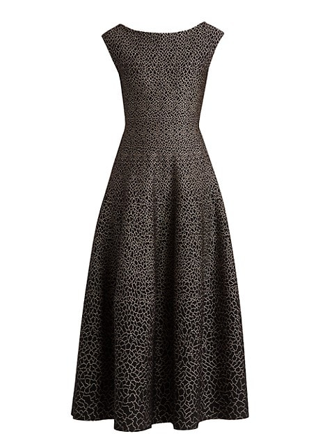 Sleeveless Boatneck Pattern Gown