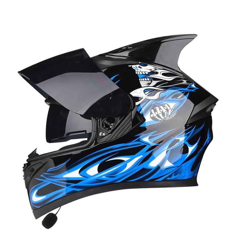 【安新】艾獅男女機車安全帽全罩機車個性四季夏季機車藍芽騎士頭灰