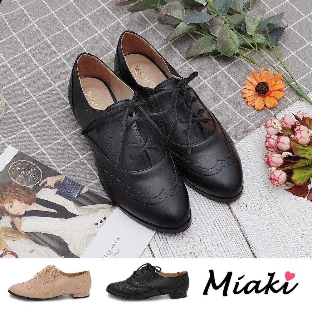 【Miaki】牛津鞋.英倫尖頭雕花低跟休閒鞋 (現貨+預購)