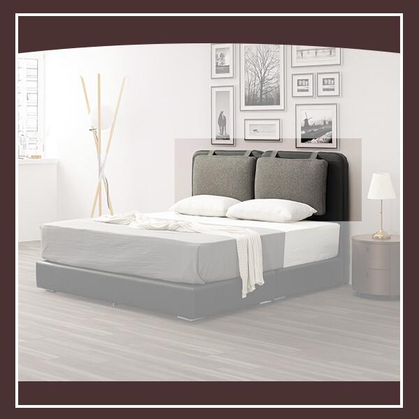 哈登5尺床頭片(黑色/灰布) 21195005002