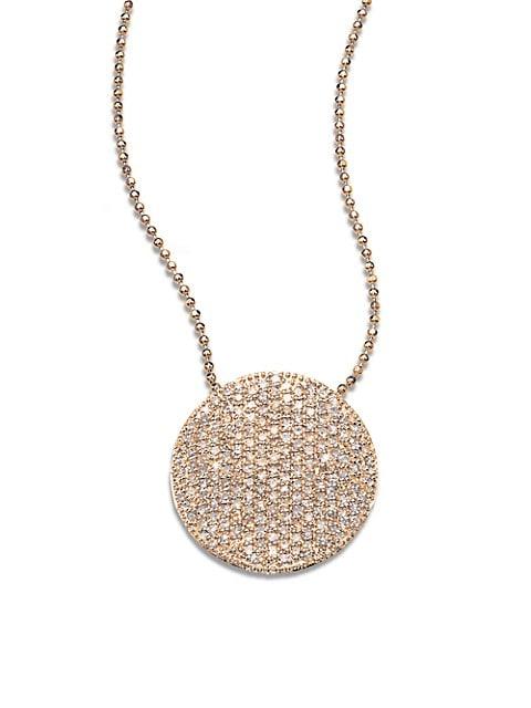 14K Rose Gold & Diamond Pavé Large Infinity Disc Necklace