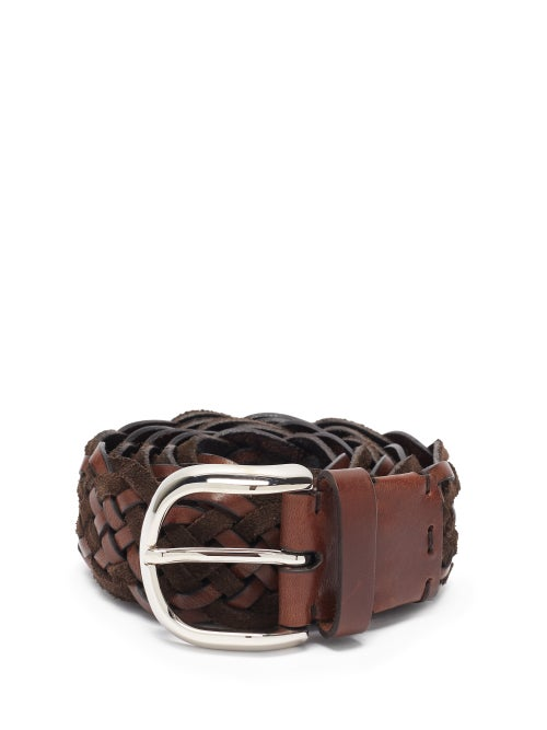 Brunello Cucinelli - Woven Suede And Leather Belt - Mens - Brown