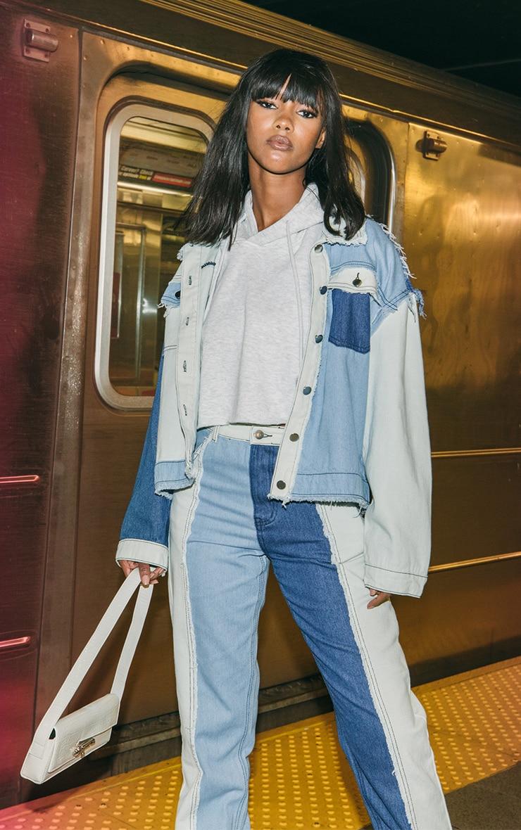 Blue Frayed Patchwork Denim Jacket