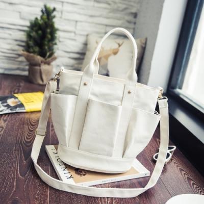 【89 zone】法式古典褶皺雙兜單肩帆布/手提包(白色)