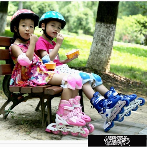 兒童初學者全套裝旱冰輪滑鞋男童可調小孩中童女成【全館免運】