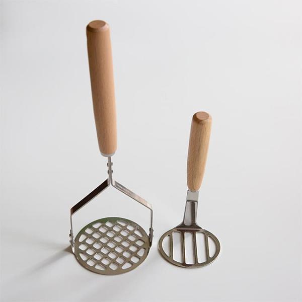 搗碎器 日式木質土豆泥壓泥器搗碎器340不銹鋼加厚水果輔食紅薯搗泥工具【快速出貨八折鉅惠】