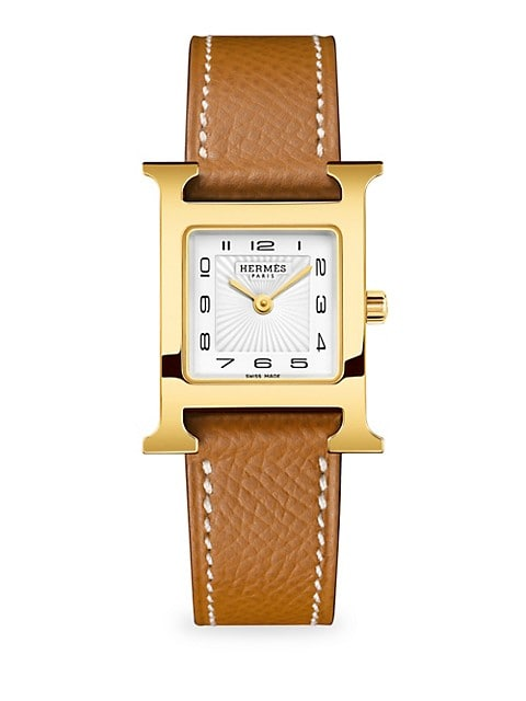 Heure H 21MM Goldplated & Leather Strap Watch