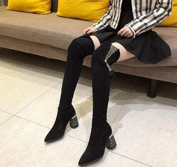 長筒靴 網紅長靴女過膝靴2021年新款彈力瘦瘦靴高筒靴粗跟高跟長筒靴 維多原創