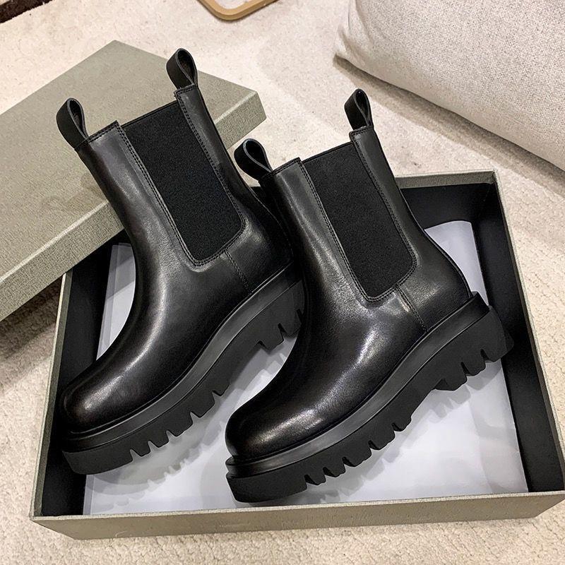 【切爾西靴】mona同款鞋厚底切爾西靴英倫風煙筒靴中筒短靴側拉鏈馬丁靴女2020