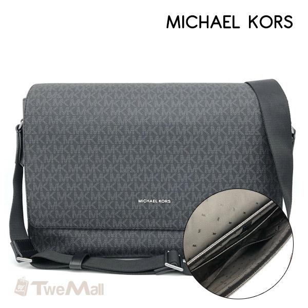 MICHAEL KORS MK防刮皮革LOGO斜背包男女公事包(黑灰)