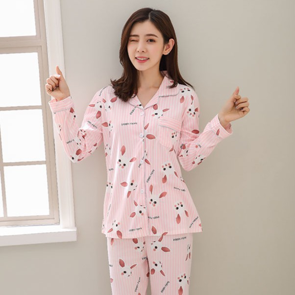 秋季2件睡衣套裝女版家用套裝長袖睡衣的女孩上衣新款