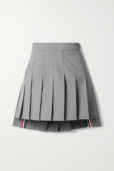 Thom Browne - 罗缎边饰褶裥羊毛混纺迷你半身裙 - 灰色 - IT44