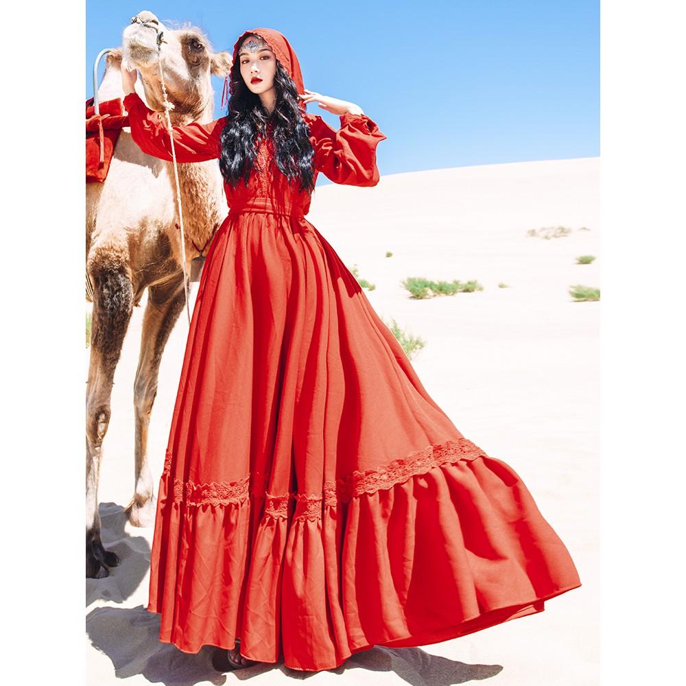 ⭐禮服⭐沙漠旅游拍照衣服女連衣裙復古民族風斗篷披風連帽超仙紅色長裙子