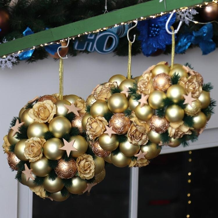 聖誕節吊飾球門掛櫥窗掛飾球新年吊飾磨砂球場景布置裝扮裝飾花球