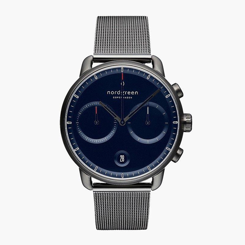 【Nordgreen】Pioneer 先鋒 深空灰系列 深空灰 鈦鋼米蘭錶帶手錶 42mm