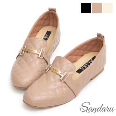 山打努SANDARU-低跟鞋 菱格紋金色H扣樂福鞋-可可