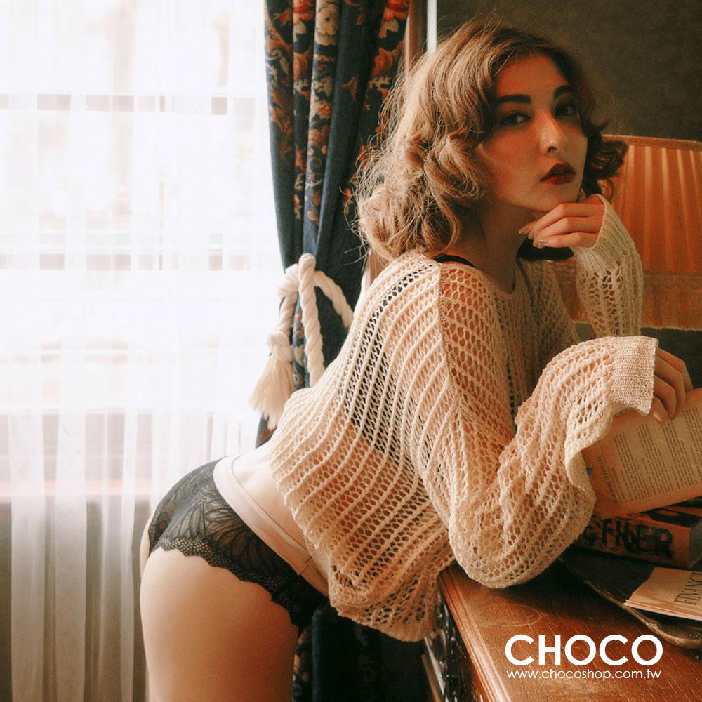 細緻女人.緞面包邊蕾絲輕透性感小褲(黑色) M~L Choco Shop