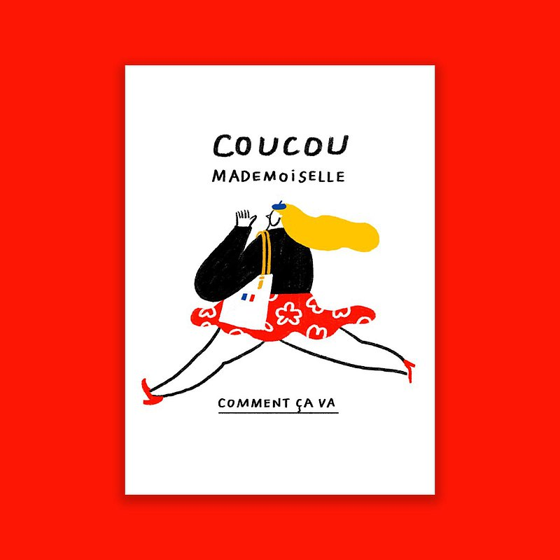 你好小姐法文明信片Coucou Mademoiselle Postcard