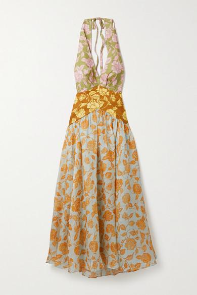 Zimmermann - The Lovestruck 花卉印花亚麻挂脖中长连衣裙 - 橙色 - 1