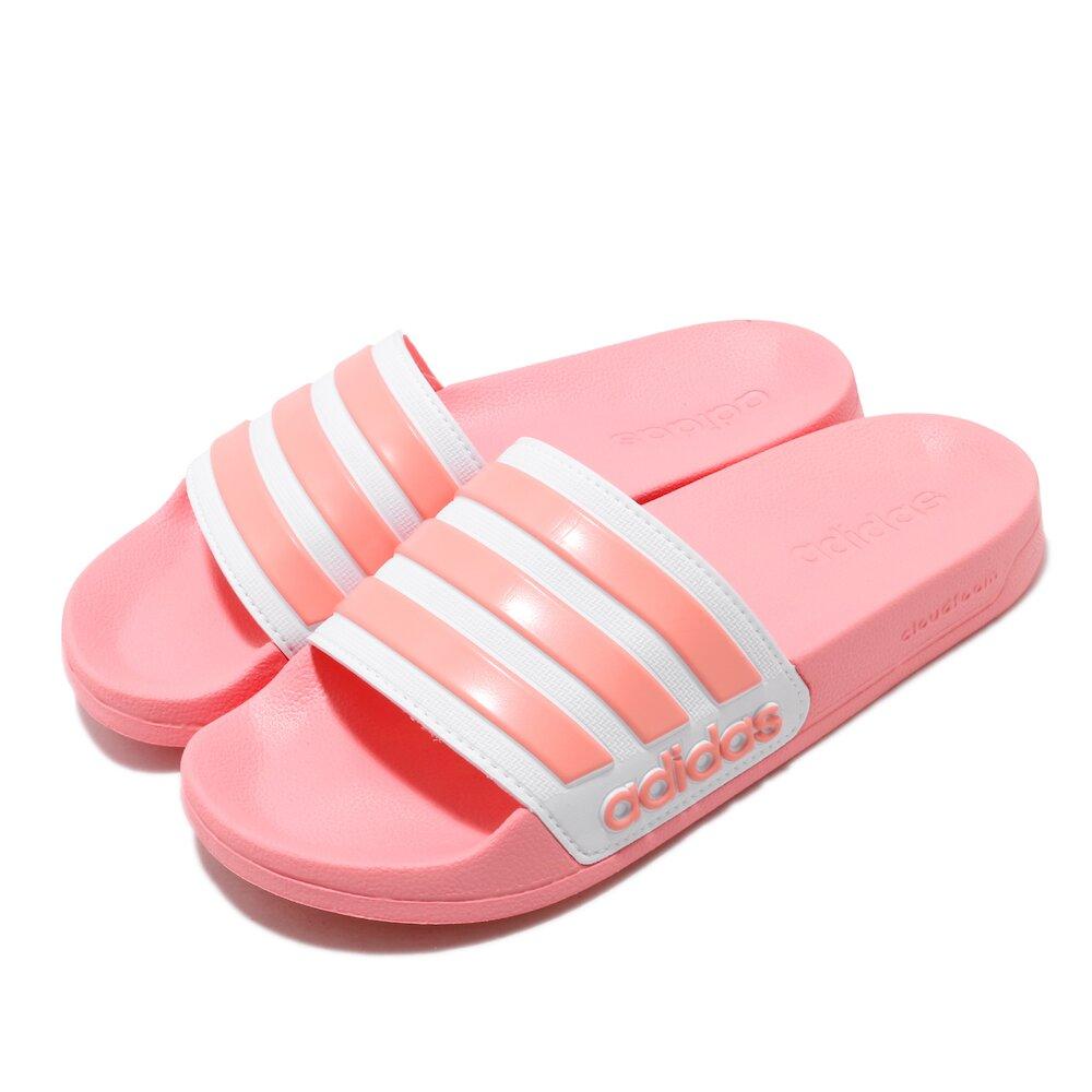 ADIDAS 涼拖鞋 Adilette Shower 女鞋 愛迪達 輕便 夏日 套腳 簡約 粉 白 [EG1886]