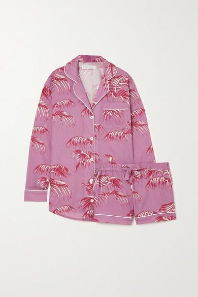 Desmond & Dempsey - Bocas 印花有机纯棉睡衣套装 - 粉红色 - large