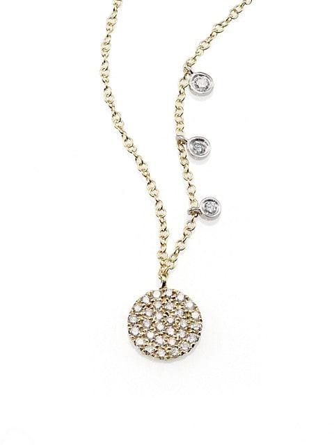 Diamond & 14K Yellow Gold Disc Necklace