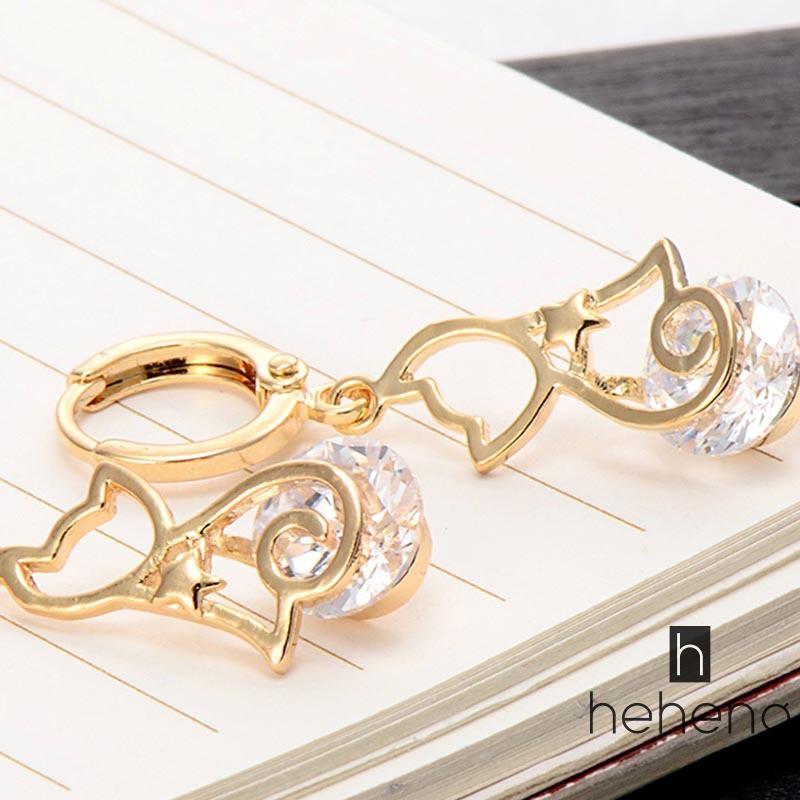 READY魅力女士耳環鍍金可愛貓形水鑽鑲嵌圈形耳環時尚韓版潮流
