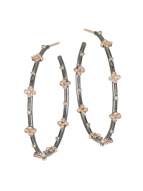 14K Gold & Diamond Clover Hoop Earrings