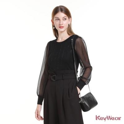 KeyWear奇威名品    [網路限定]透膚設計優雅針織毛衣-黑色