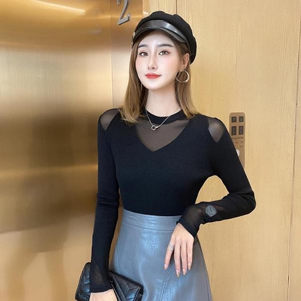長袖上衣 打底衫女秋 女裝 秋季2020新款韓版鏤空長袖t恤女衣服女 毛衣女