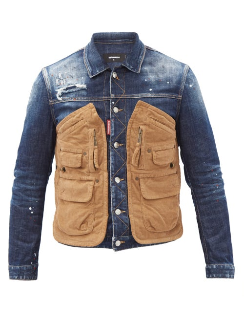 Dsquared2 - Corduroy Pocket-panel Distressed Denim Jacket - Mens - Blue