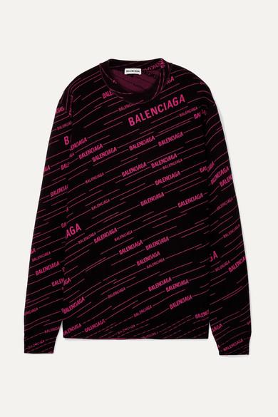 Balenciaga - 嵌花羊毛混纺毛衣 - 黑色 - small