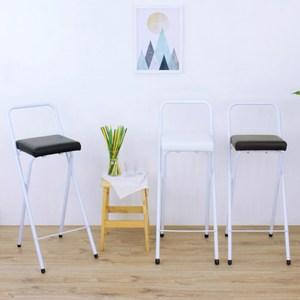 【頂堅】鋼管(厚型沙發皮革椅座)高腳折疊椅/吧台椅/櫃台椅/餐椅-三色黑色