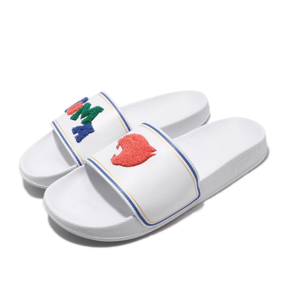 PUMA 涼拖鞋 Leadcat FTR 套腳 男女鞋 輕便 簡約 大logo 夏日 情侶穿搭 白 藍 [37262202]