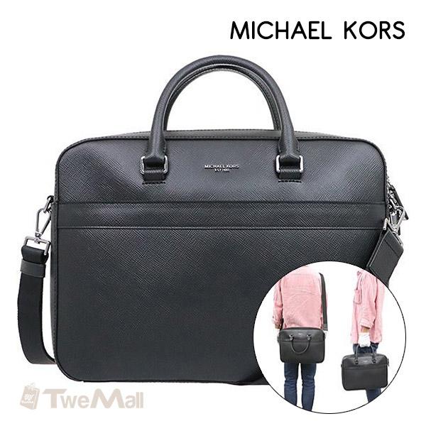 MICHAEL KORS MK防刮皮革斜背包男女公事包(黑)