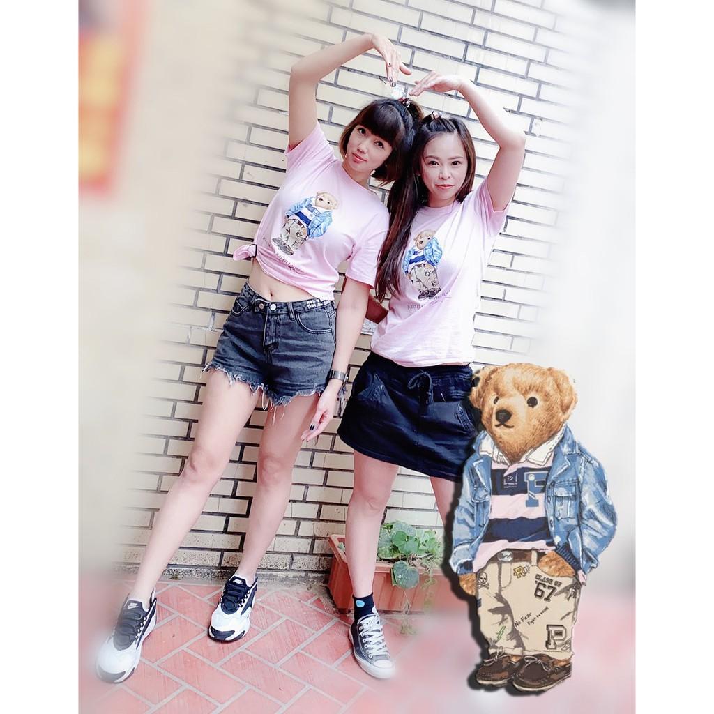 現貨【帝國】Ralph Lauren - POLO 熊 粉紅 大學熊 粉色 青年版 短袖 T恤