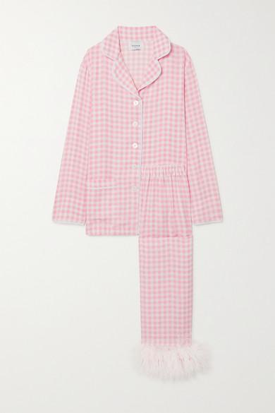 Sleeper - 羽毛边饰方格双绉睡衣套装 - 粉红色 - x small